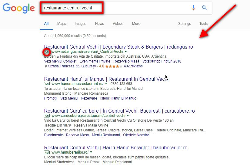 promovare restaurant prin google adwords